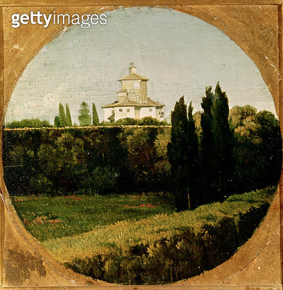 <b>Title</b> : View of the Villa Medici, Rome (oil on canvas)<br><b>Medium</b> : oil on canvas<br><b>Location</b> : Musee Ingres, Montauban, France<br> - gettyimageskorea