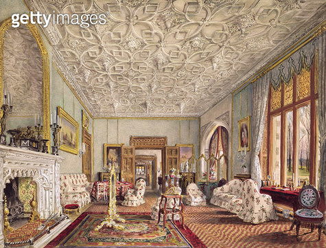 <b>Title</b> : Drawing Room in the Gothic Style, c.1850 (w/c)<br><b>Medium</b> : pencil and watercolour on paper<br><b>Location</b> : Mallett Gallery, London, UK<br> - gettyimageskorea