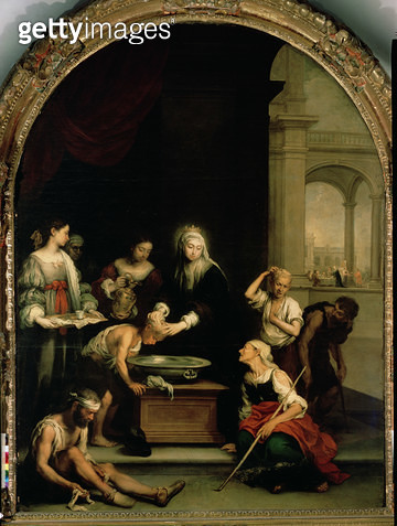 <b>Title</b> : St. Elizabeth of Hungary tending the sick and leprous, c.1671-74 (oil on canvas)<br><b>Medium</b> : oil on canvas<br><b>Location</b> : Hospital de la Santa Caridad, Seville, Spain<br> - gettyimageskorea
