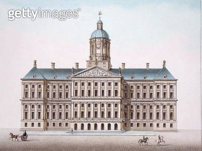 <b>Title</b> : Royal Palace at Amsterdam, from 'Choix des Monuments, Edifices et Maisons les plus remarquables du Royaume des Pays-Bas' by Pier<br><b>Medium</b> : aquatint<br><b>Location</b> : Private Collection<br> - gettyimageskorea