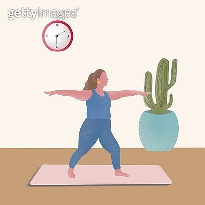 Yoga, body positive, plus size, yoga mat, sports, relax, women's wear, yoga wear, plus size sports wear, healthy life - gettyimageskorea