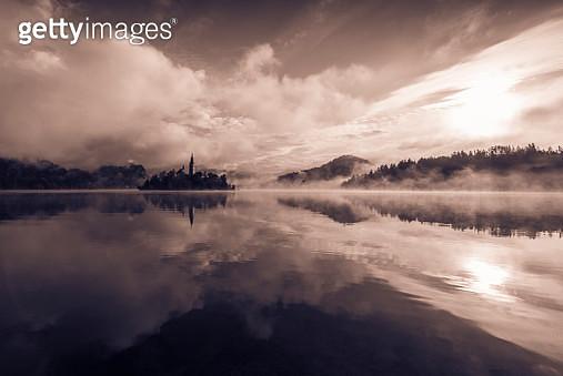 Dramatic landscape, lake Bled Slovenia - gettyimageskorea