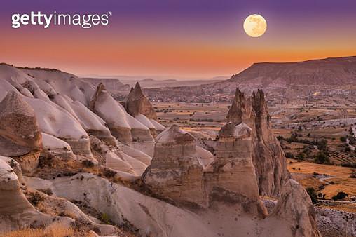 Full Moon over Love Valley, Cappadocia, Turkey - gettyimageskorea