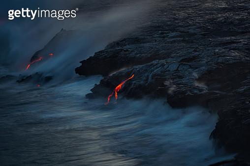 Lava flow ocean entry in Hawaii, USA - gettyimageskorea