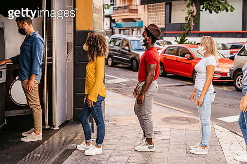 Social distancing in line at ATM - gettyimageskorea