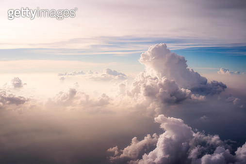 Heavenly scene above the clouds during flights. - gettyimageskorea