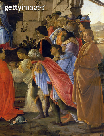 <b>Title</b> : The Adoration of the Magi, detail of depicting self portrait and those of the Medici family (see 395) (panel)<br><b>Medium</b> : tempera on panel<br><b>Location</b> : Galleria degli Uffizi, Florence, Italy<br> - gettyimageskorea