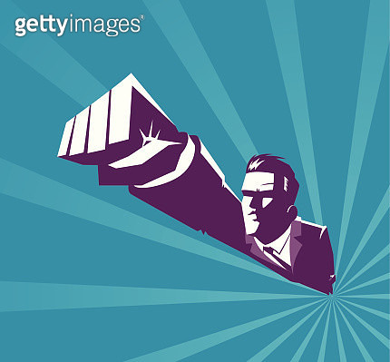 Vector illustration - Superhero flying - gettyimageskorea