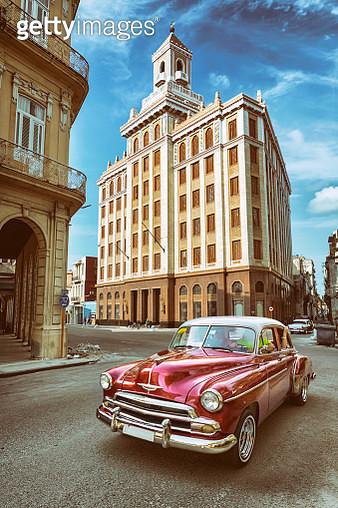 Vintage oldtimer car driving through Old Havana Cuba - gettyimageskorea