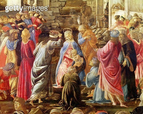 <b>Title</b> : The Adoration of the Kings, c.1470-75 (tempera on panel) (see also 186451 and 186449)<br><b>Medium</b> : <br><b>Location</b> : National Gallery, London, UK<br> - gettyimageskorea