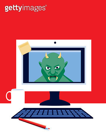 Desktop Computer with Troll - gettyimageskorea