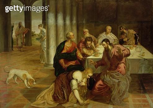 <b>Title</b> : The Conversion of Mary Magdalene, 1546-7 (oil on canvas)<br><b>Medium</b> : oil on canvas<br><b>Location</b> : Monasterio de El Escorial, Spain<br> - gettyimageskorea