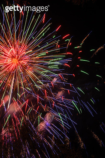 Festive fireworks in the night sky-stock photo - gettyimageskorea