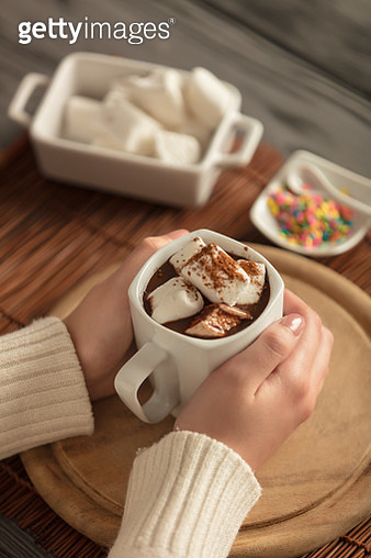 Holding A Mug Of Hot Chocolate With Marshmallows - gettyimageskorea
