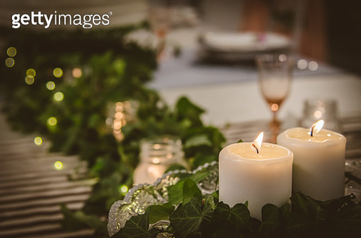 Christmas and wedding ornaments, decorations and a candles - gettyimageskorea