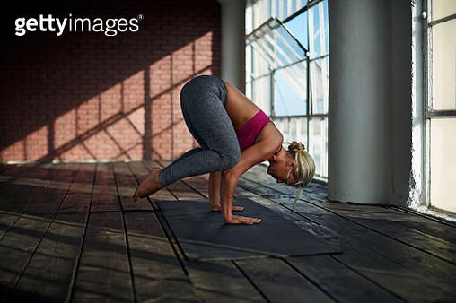 Yoga in Natural Light Studio - gettyimageskorea