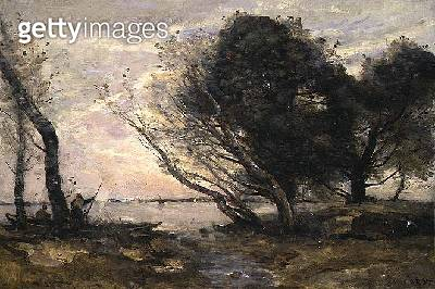 <b>Title</b> : The Banks of the Lake after the Flood, c.1870<br><b>Medium</b> : oil on canvas<br><b>Location</b> : Noortman, Maastricht, Netherlands<br> - gettyimageskorea