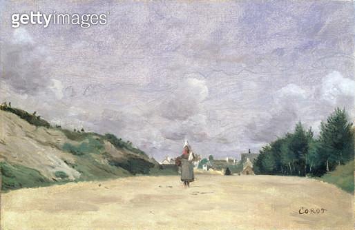 <b>Title</b> : A Road in Normandy, c.1860-65<br><b>Medium</b> : oil on canvas<br><b>Location</b> : Noortman, Maastricht, Netherlands<br> - gettyimageskorea