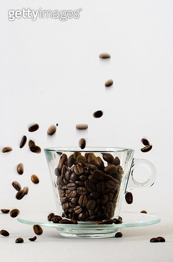 Close-Up Of Coffee Beans In Glass - gettyimageskorea