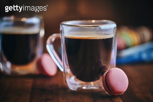 Cup Fresh Coffee Served with Macarons - gettyimageskorea