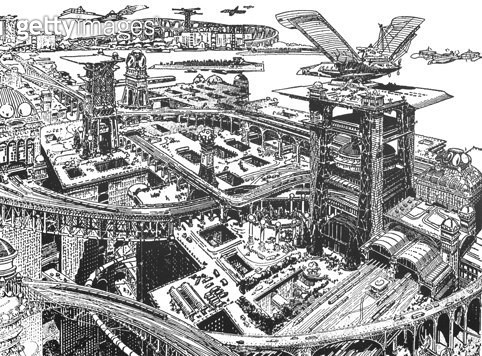 BIEDERMAN: FUTURISTIC CITY. /nA city of the future. Drawing, 1916, by Louis Biedermann. - gettyimageskorea