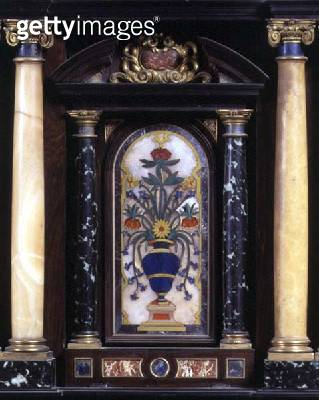 Detail of an ebony cabinet showing a decorative panel of a vase of flowers in pietre dure flanked by two sets of marble columns/ Italian/ 1641-51 - gettyimageskorea