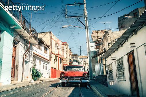 Old American car on street in Cuba - gettyimageskorea