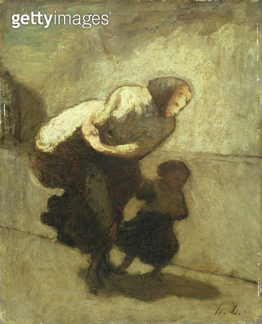 <b>Title</b> : The Heavy Burden (oil on panel)<br><b>Medium</b> : oil on panel<br><b>Location</b> : National Museum and Gallery of Wales, Cardiff<br> - gettyimageskorea