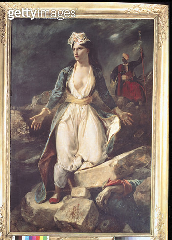 <b>Title</b> : Greece expiring on the Ruins of Missolonghi, 1826 (oil on canvas)<br><b>Medium</b> : oil on canvas<br><b>Location</b> : Musee des Beaux-Arts, Bordeaux, France<br> - gettyimageskorea