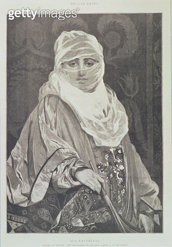 <b>Title</b> : 'La Favorita'- Woman with a Veil (engraving)<br><b>Medium</b> : engraving<br><b>Location</b> : Private Collection<br> - gettyimageskorea