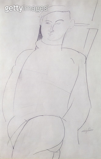 <b>Title</b> : Jacques Lipchitz (1891-1973) c.1917 (pencil on paper)<br><b>Medium</b> : pencil on paper<br><b>Location</b> : Private Collection<br> - gettyimageskorea