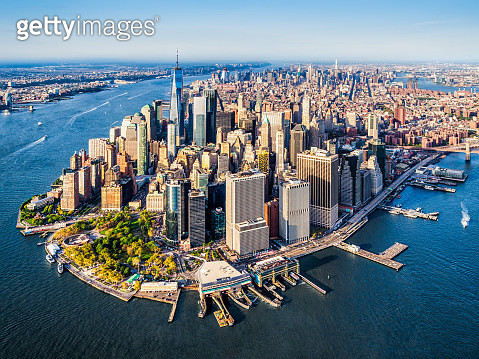 Aerial view of Lower Manhattan at sunset. New York. USA - gettyimageskorea