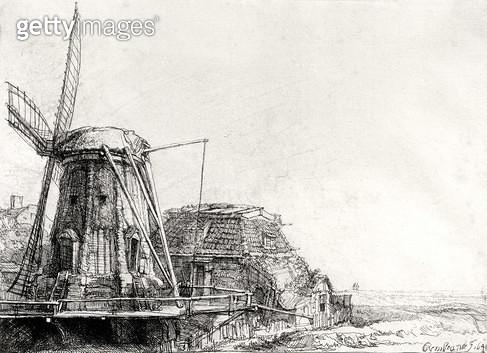 <b>Title</b> : The Mill, 1641 (engraving) (b/w photo)<br><b>Medium</b> : engraving<br><b>Location</b> : Musee de la Ville de Paris, Musee du Petit-Palais, France<br> - gettyimageskorea