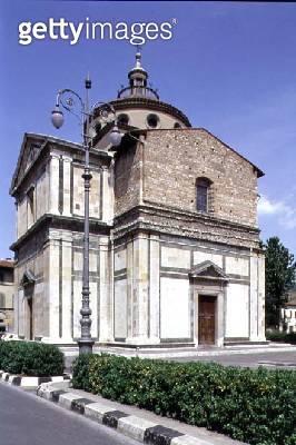 <b>Title</b> : Exterior of the church, designed by Giuliano da Sangallo (1445-1516) 1484-91 (photo)Additional Infofirst Renaissance church on a<br><b>Medium</b> : marble-clad stone<br><b>Location</b> : Santa Maria delle Carceri, Prato, Italy<br> - gettyimageskorea