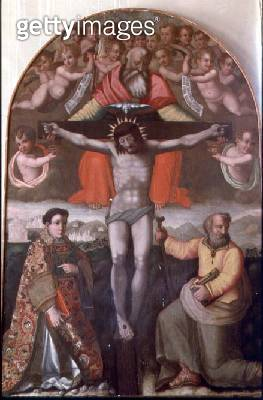 <b>Title</b> : Trinity with SS. Stephen and Philip, central panel of an altarpiece (tempera on panel)<br><b>Medium</b> : tempera on panel with gold leaf<br><b>Location</b> : Museo Civico, Prato, Italy<br> - gettyimageskorea