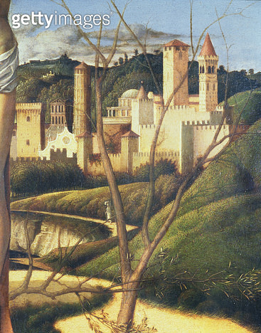 <b>Title</b> : Crucifixion (detail of the background landscape showing a town (detail of 87045)<br><b>Medium</b> : <br><b>Location</b> : Galleria degli Alberti, Prato, Italy<br> - gettyimageskorea
