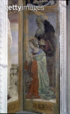 <b>Title</b> : SS. Anthony and Lucy, detail from the tabernacle of the Canto al Mercatale, 1498 (fresco) (see also 87103, 87105)<br><b>Medium</b> : fresco, wood<br><b>Location</b> : Palazzo Pretorio, Prato, Italy<br> - gettyimageskorea