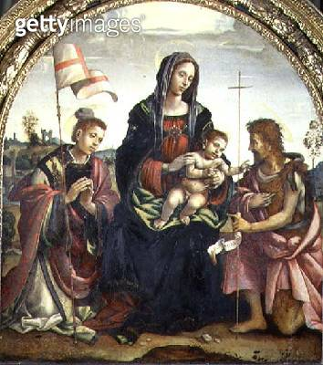 <b>Title</b> : Madonna and Child with SS. John the Baptist and Stephen (tempera on panel)<br><b>Medium</b> : tempera on panel with gold leaf<br><b>Location</b> : Museo Civico, Prato, Italy<br> - gettyimageskorea