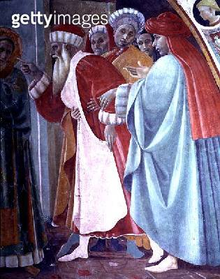 <b>Title</b> : SS. Stephen and Margaret, a detail from the tabernacle of the Canto al Mercatale, 1498 (fresco) (see 87057)<br><b>Medium</b> : fresco<br><b>Location</b> : Museo Civico, Prato, Italy<br> - gettyimageskorea