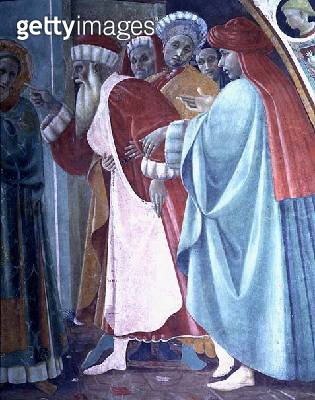 <b>Title</b> : The Dispute of St. Stephen, detail of The Saint Preaching, from the Cappella dell'Assunta (Chapel of the Assumption) possibly by<br><b>Medium</b> : fresco<br><b>Location</b> : Duomo, Prato, Italy<br> - gettyimageskorea