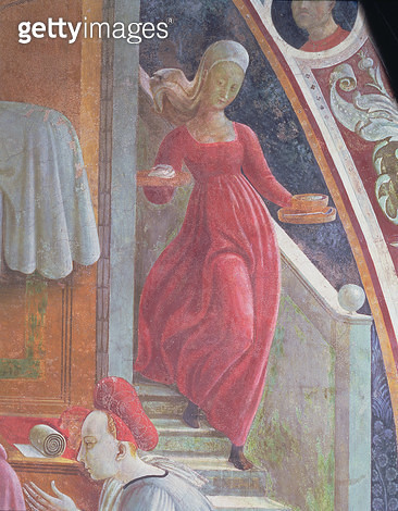 <b>Title</b> : The Birth of the Virgin, detail of a servant girl from the fresco cycle The Lives of the Virgin and St. Stephen, from the Cappel<br><b>Medium</b> : fresco<br><b>Location</b> : Duomo, Prato, Italy<br> - gettyimageskorea