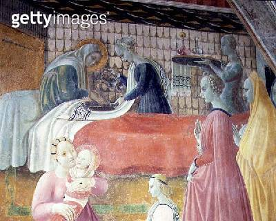 <b>Title</b> : The Birth of the Virgin, detail from the cycle The Lives of The Virgin and St. Stephen, from the Cappella dell'Assunta (Chapel o<br><b>Medium</b> : fresco<br><b>Location</b> : Duomo, Prato, Italy<br> - gettyimageskorea