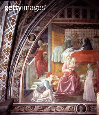 <b>Title</b> : The Birth of the Virgin, detail from the fresco cycle of The Lives of the Virgin and St. Stephen, from the Capella dell'Assunta<br><b>Medium</b> : fresco<br><b>Location</b> : Duomo, Prato, Italy<br> - gettyimageskorea