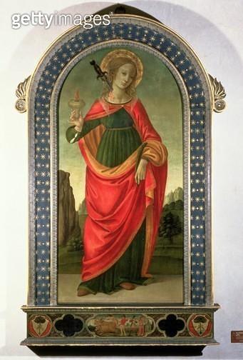 <b>Title</b> : St. Lucy, c.1472-74 (tempera on panel)<br><b>Medium</b> : <br><b>Location</b> : Duomo, Prato, Italy<br> - gettyimageskorea
