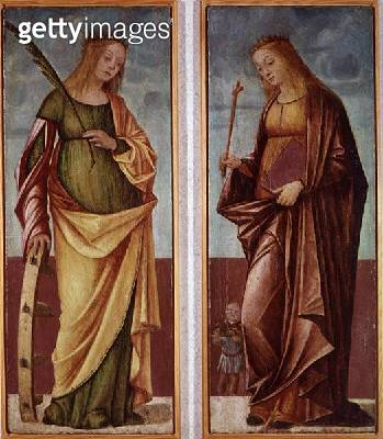 <b>Title</b> : St. Catherine of Alexandria and St. Paraceve or Veneranda (oil on panel)<br><b>Medium</b> : oil on panel<br><b>Location</b> : Castel Vecchio, Verona, Italy<br> - gettyimageskorea
