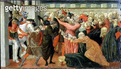 <b>Title</b> : The Massacre of the Innocents, detail of a predella panel, c.1470 (tempera on panel)<br><b>Medium</b> : tempera and gold leaf on panel<br><b>Location</b> : Museo Civico, Prato, Italy<br> - gettyimageskorea