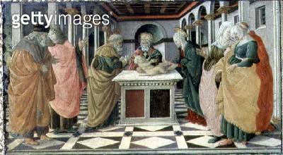 <b>Title</b> : The Presentation in the Temple, predella panel to The Nativity altarpiece in the Museo Civico, 1470 (tempera on panel)<br><b>Medium</b> : tempera and gold leaf on panel<br><b>Location</b> : Palazzo del Comune, Prato, Italy<br> - gettyimageskorea
