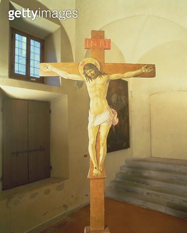 <b>Title</b> : Crucifix (tempera on wood)<br><b>Medium</b> : tempera and gold leaf on wood<br><b>Location</b> : Museo dell'Opera del Duomo, Prato, Italy<br> - gettyimageskorea