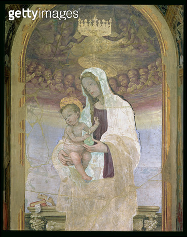 <b>Title</b> : The Madonna and Child, a detail from the tabernacle of the Canto al Mercatale, 1498 (fresco) (see 87103, 87066, 87057)<br><b>Medium</b> : <br><b>Location</b> : Museo Civico, Prato, Italy<br> - gettyimageskorea