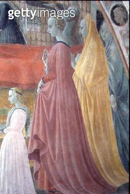 The Nativity of the Virgin/ detail depicting the Women of the Donor family/ from The Chapel of the Assumption (Cappella del' Assunta) 1433-34 (fresco) (see 87067/ 87069/ 87075/ 87079/ 87110) - gettyimageskorea
